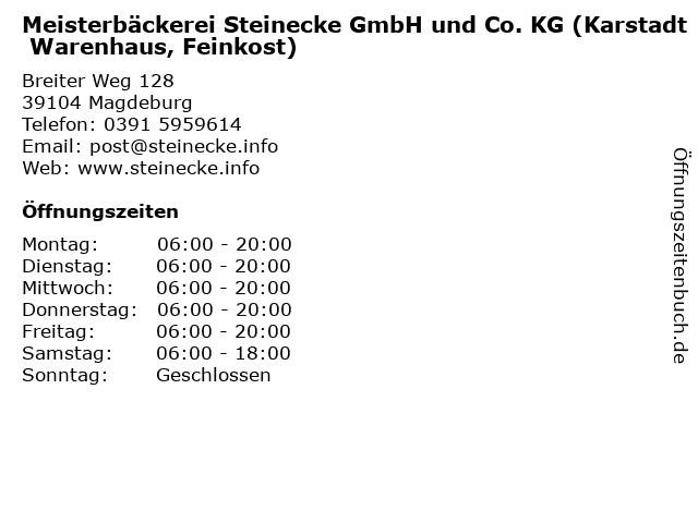 Meisterbäckerei Steinecke GmbH und Co. KG (Karstadt Warenhaus, Feinkost) in Magdeburg: Adresse und Öffnungszeiten