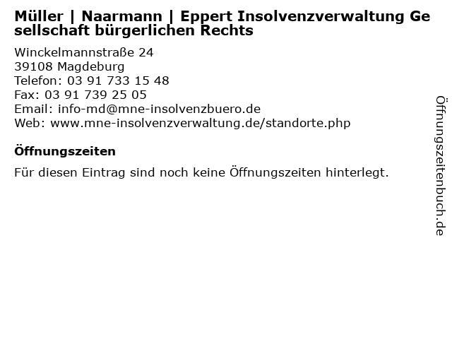 Müller   Naarmann   Eppert Insolvenzverwaltung Gesellschaft bürgerlichen Rechts in Magdeburg: Adresse und Öffnungszeiten