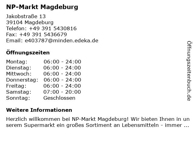 NP-Markt Magdeburg in Magdeburg: Adresse und Öffnungszeiten