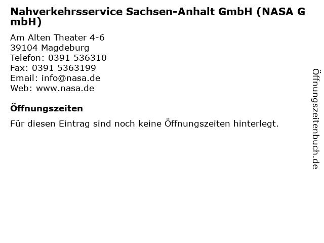 Nahverkehrsservice Sachsen-Anhalt GmbH (NASA GmbH) in Magdeburg: Adresse und Öffnungszeiten