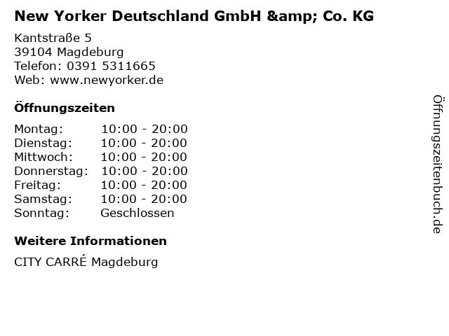 New Yorker Deutschland GmbH & Co. KG in Magdeburg: Adresse und Öffnungszeiten