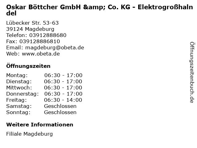 Oskar Böttcher GmbH & Co. KG - Elektrogroßhalndel in Magdeburg: Adresse und Öffnungszeiten