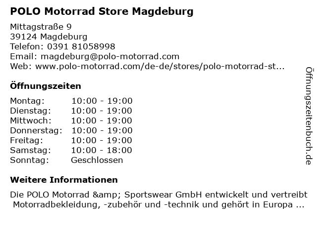 POLO Motorrad Store Magdeburg in Magdeburg: Adresse und Öffnungszeiten