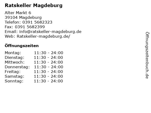 Ratskeller Magdeburg in Magdeburg: Adresse und Öffnungszeiten