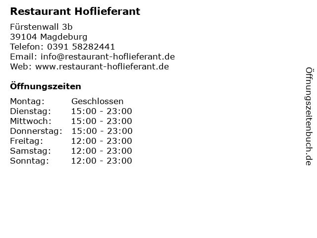 Restaurant Hoflieferant in Magdeburg: Adresse und Öffnungszeiten