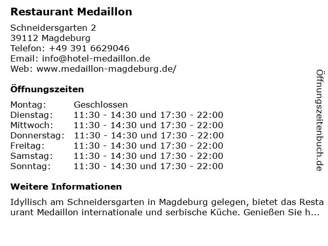 Restaurant Medaillon in Magdeburg: Adresse und Öffnungszeiten