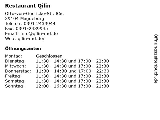 Restaurant Qilin in Magdeburg: Adresse und Öffnungszeiten