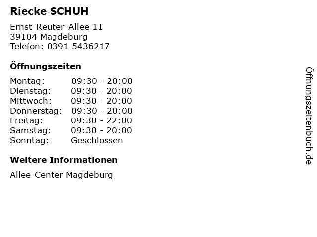 Riecke SCHUH in Magdeburg: Adresse und Öffnungszeiten