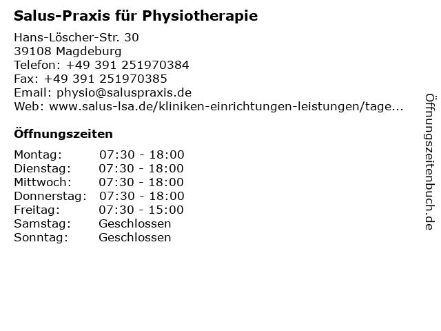 Salus-Praxis für Physiotherapie in Magdeburg: Adresse und Öffnungszeiten