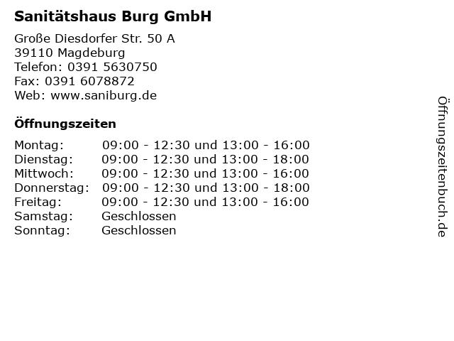 ᐅ öffnungszeiten Sanitätshaus Burg Gmbh Fil Magdeburgstadtfeld
