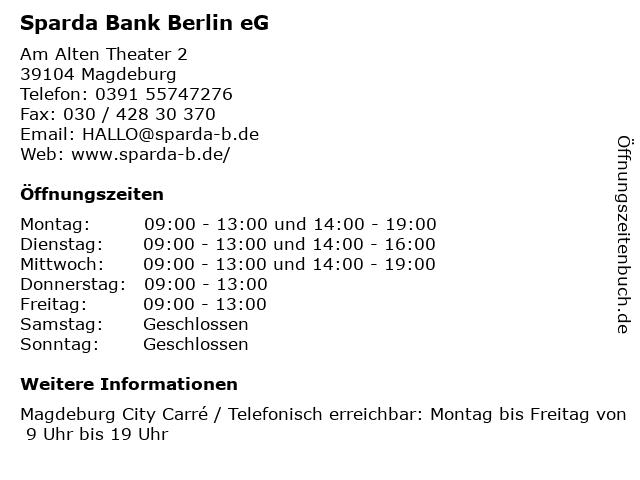 Sparda Bank Berlin eG in Magdeburg: Adresse und Öffnungszeiten