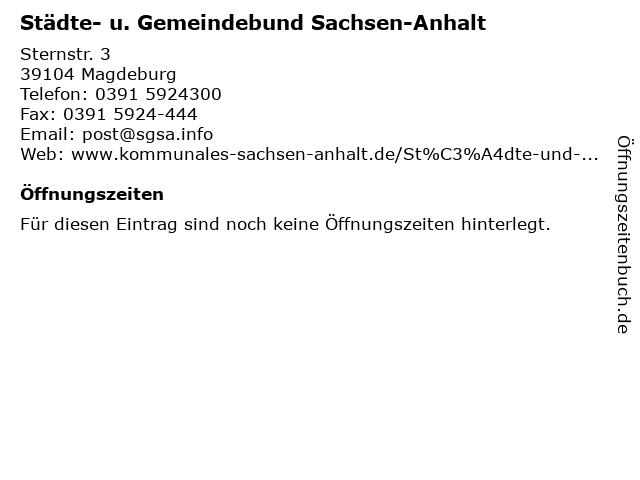 Städte- u. Gemeindebund Sachsen-Anhalt in Magdeburg: Adresse und Öffnungszeiten