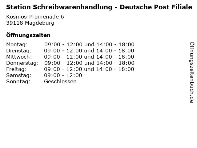 Station Schreibwarenhandlung - Deutsche Post Filiale in Magdeburg: Adresse und Öffnungszeiten