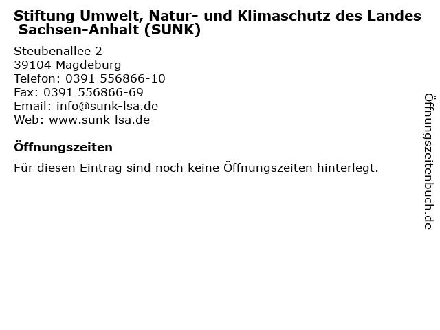 Stiftung Umwelt, Natur- und Klimaschutz des Landes Sachsen-Anhalt (SUNK) in Magdeburg: Adresse und Öffnungszeiten