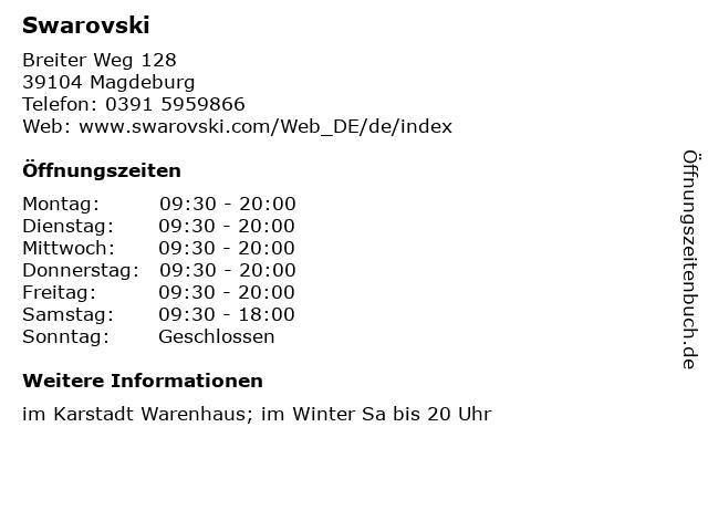 Swarovski in Magdeburg: Adresse und Öffnungszeiten