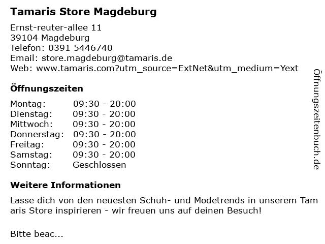 Tamaris in Magdeburg: Adresse und Öffnungszeiten