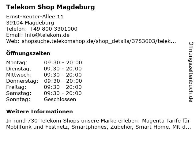 Telekom Shop Magdeburg in Magdeburg: Adresse und Öffnungszeiten