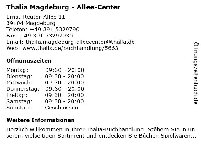 Thalia Magdeburg - Allee-Center in Magdeburg: Adresse und Öffnungszeiten