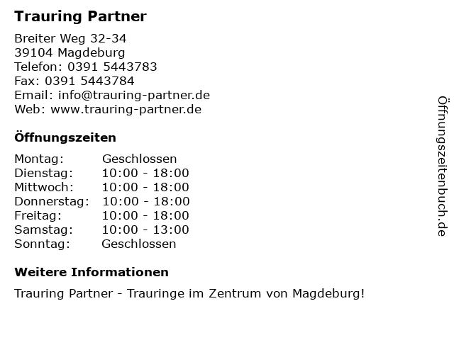 Trauring Partner in Magdeburg: Adresse und Öffnungszeiten