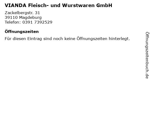 VIANDA Fleisch- und Wurstwaren GmbH in Magdeburg: Adresse und Öffnungszeiten