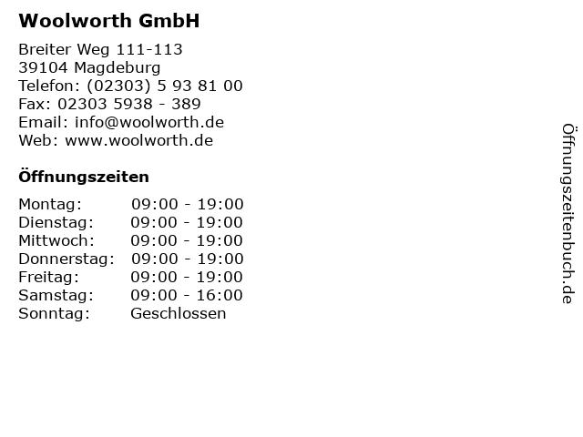 Woolworth GmbH in Magdeburg: Adresse und Öffnungszeiten