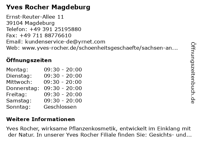 Yves Rocher Magdeburg in Magdeburg: Adresse und Öffnungszeiten