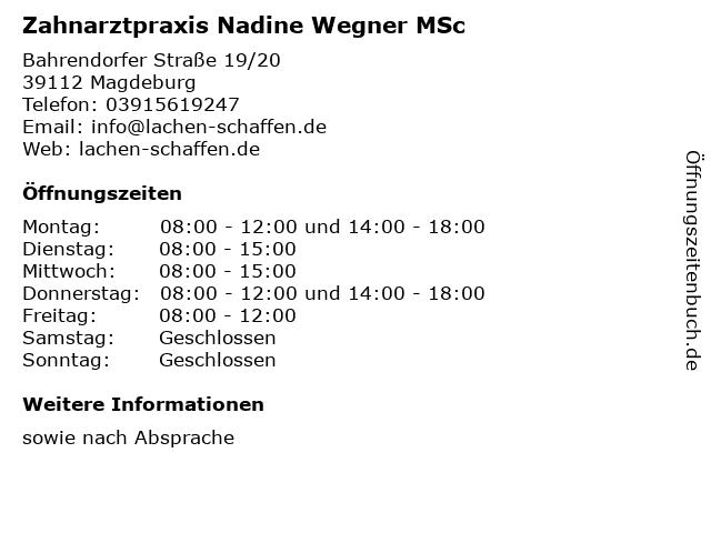 Zahnarztpraxis Nadine Wegner MSc in Magdeburg: Adresse und Öffnungszeiten
