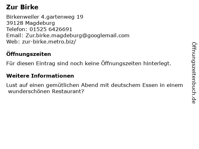 Zur Birke in Magdeburg: Adresse und Öffnungszeiten