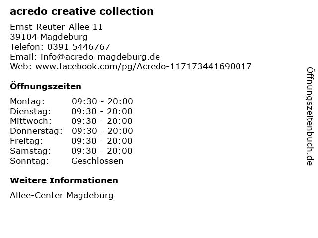 acredo creative collection in Magdeburg: Adresse und Öffnungszeiten