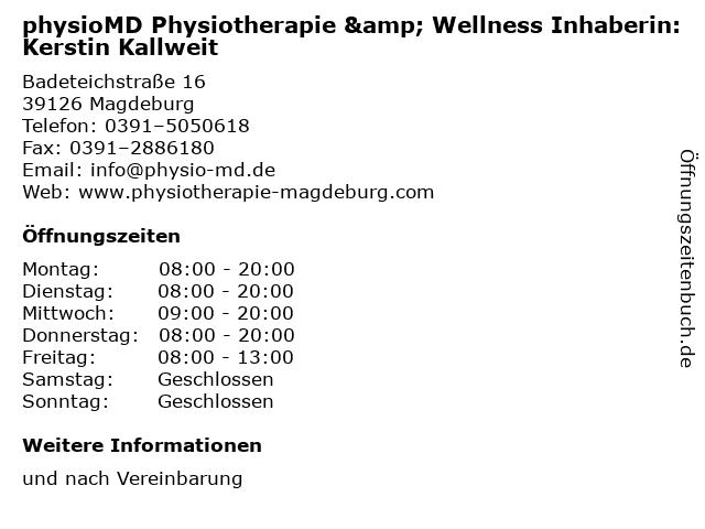 physioMD Physiotherapie & Wellness Inhaberin: Kerstin Kallweit in Magdeburg: Adresse und Öffnungszeiten