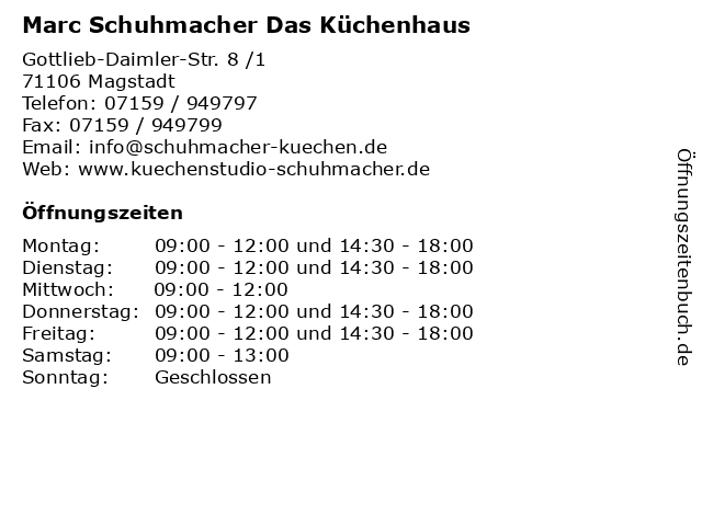 Marc Schuhmacher Das Küchenhaus in Magstadt: Adresse und Öffnungszeiten