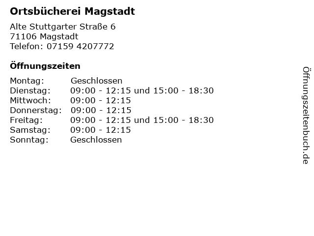 Ortsbücherei Magstadt in Magstadt: Adresse und Öffnungszeiten