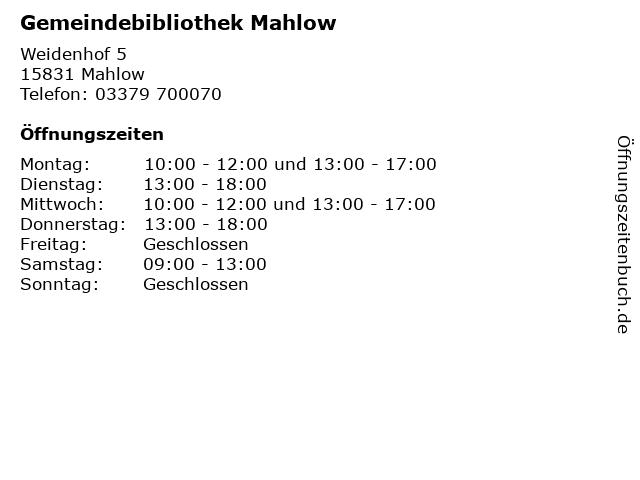 Gemeindebibliothek Mahlow in Mahlow: Adresse und Öffnungszeiten
