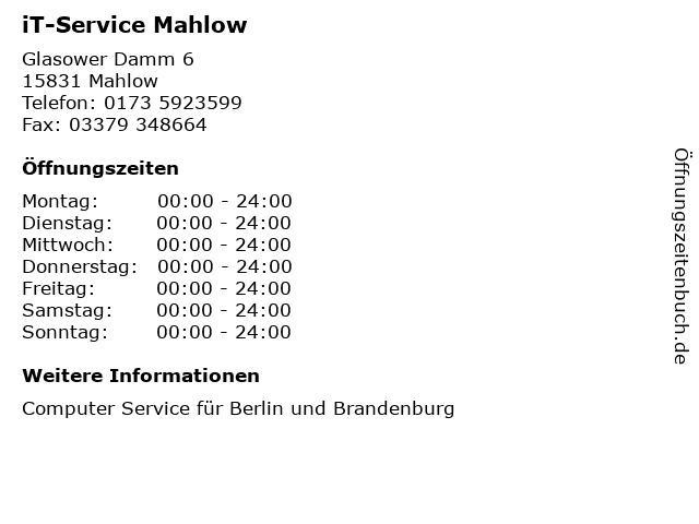 iT-Service Mahlow in Mahlow: Adresse und Öffnungszeiten