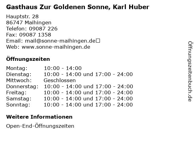 Gasthaus Zur Goldenen Sonne, Karl Huber in Maihingen: Adresse und Öffnungszeiten