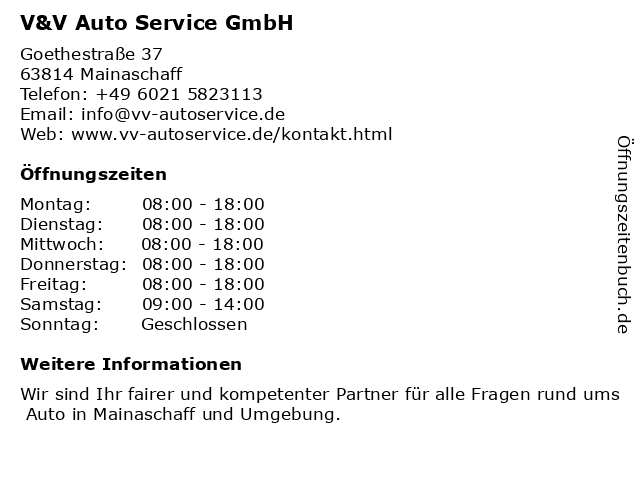 V & V Auto Service GmbH in Mainaschaff: Adresse und Öffnungszeiten
