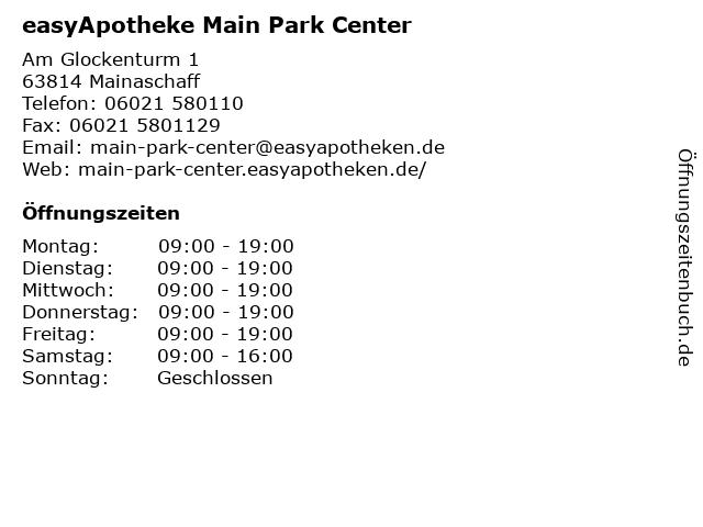 easyApotheke Main Park Center in Mainaschaff: Adresse und Öffnungszeiten