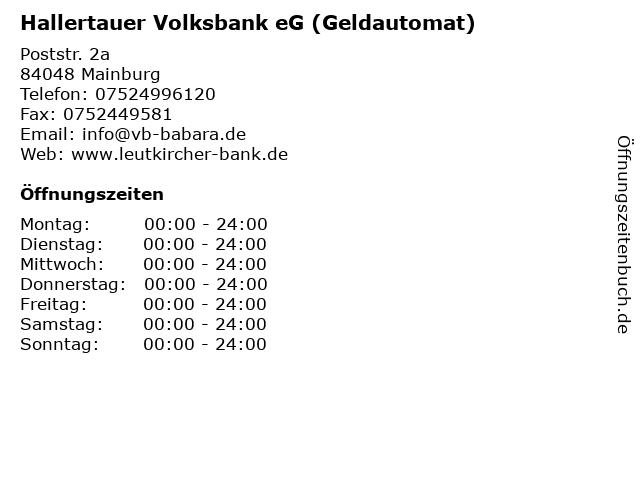 Hallertauer Volksbank eG (Geldautomat) in Mainburg: Adresse und Öffnungszeiten