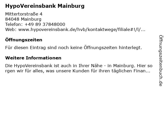 HypoVereinsbank Mainburg in Mainburg: Adresse und Öffnungszeiten