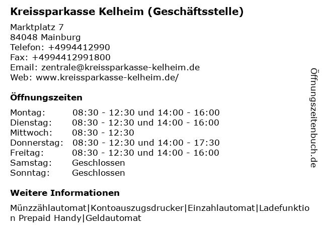 Kreissparkasse Kelheim - Geschäftsstelle Mainburg in Mainburg: Adresse und Öffnungszeiten