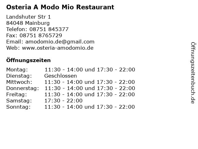 Osteria A Modo Mio in Mainburg: Adresse und Öffnungszeiten