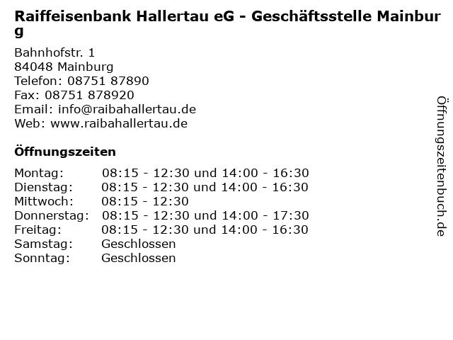 Raiffeisenbank Hallertau eG - Geschäftsstelle Mainburg in Mainburg: Adresse und Öffnungszeiten