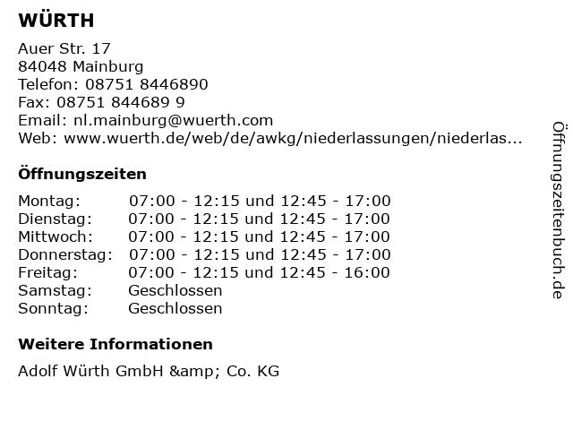 WÜRTH in Mainburg: Adresse und Öffnungszeiten