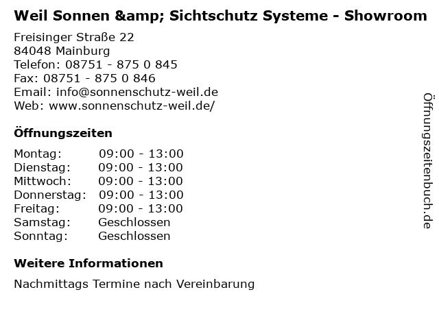 Weil Sonnen & Sichtschutz Systeme - Showroom in Mainburg: Adresse und Öffnungszeiten