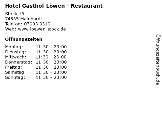 Hotel Gasthof Löwen - Restaurant in Mainhardt: Adresse und Öffnungszeiten