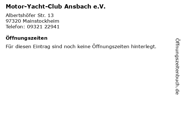 Motor-Yacht-Club Ansbach e.V. in Mainstockheim: Adresse und Öffnungszeiten