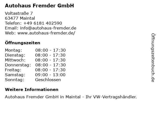 Autohaus Fremder GmbH in Maintal: Adresse und Öffnungszeiten