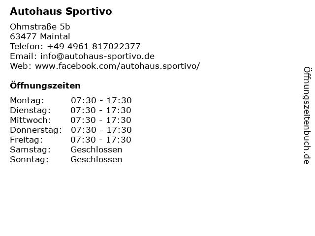 Autohaus Sportivo in Maintal: Adresse und Öffnungszeiten