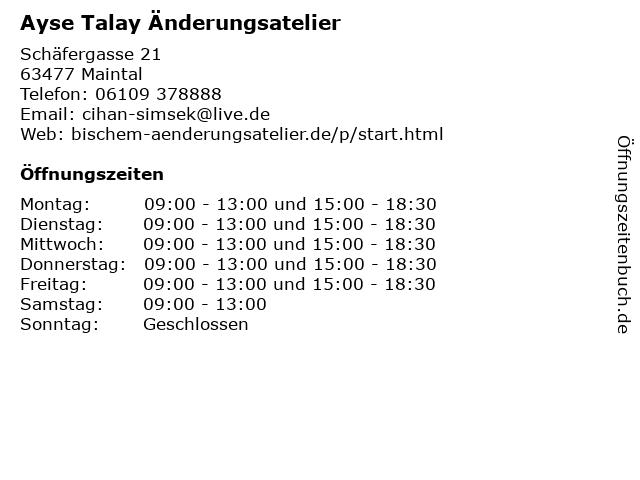 Ayse Talay Änderungsatelier in Maintal: Adresse und Öffnungszeiten