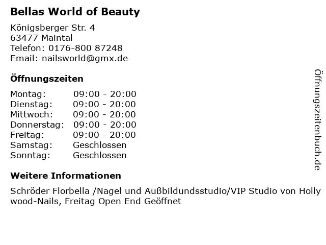Bellas World of Beauty in Maintal: Adresse und Öffnungszeiten